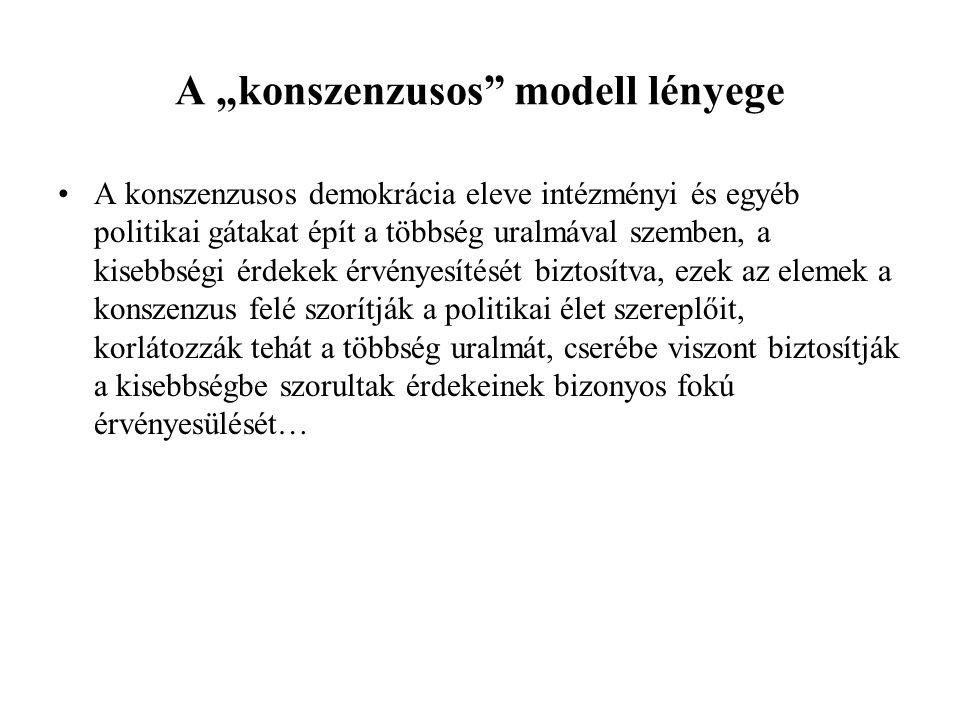 Konszenzusos modell Tiszta formában sehol sem érvényesül! Belgium Svájc Libanon Ruanda