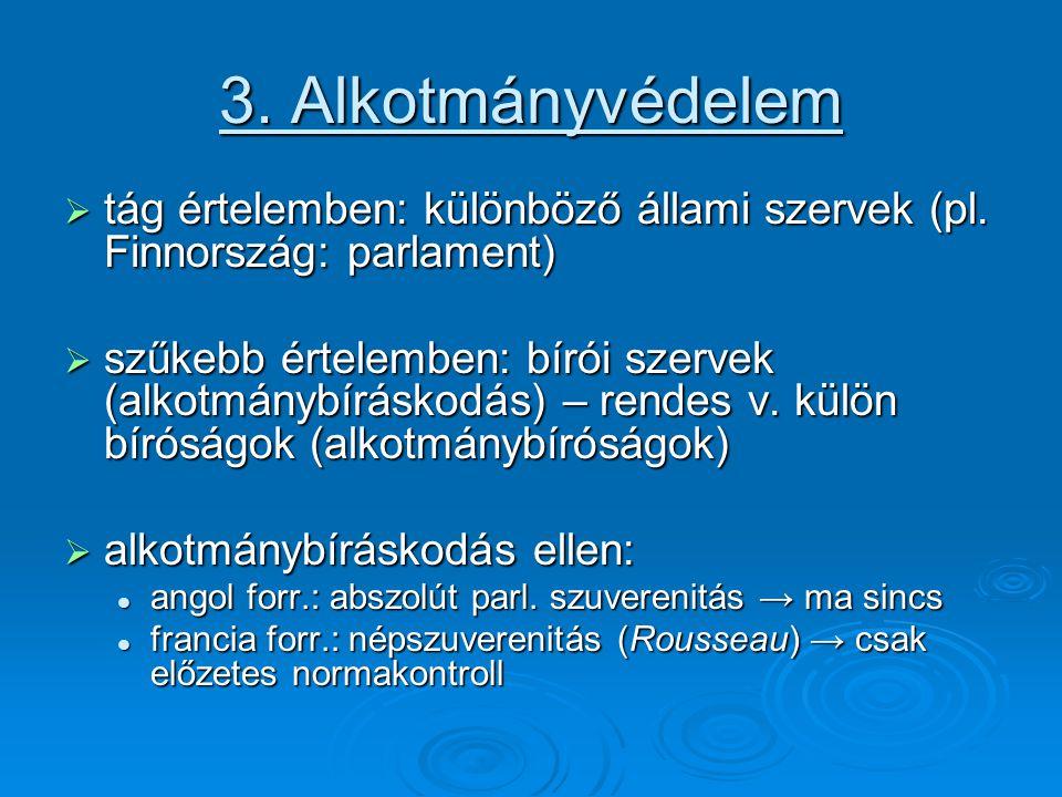 3. Alkotmányvédelem  tág értelemben: különböző állami szervek (pl.