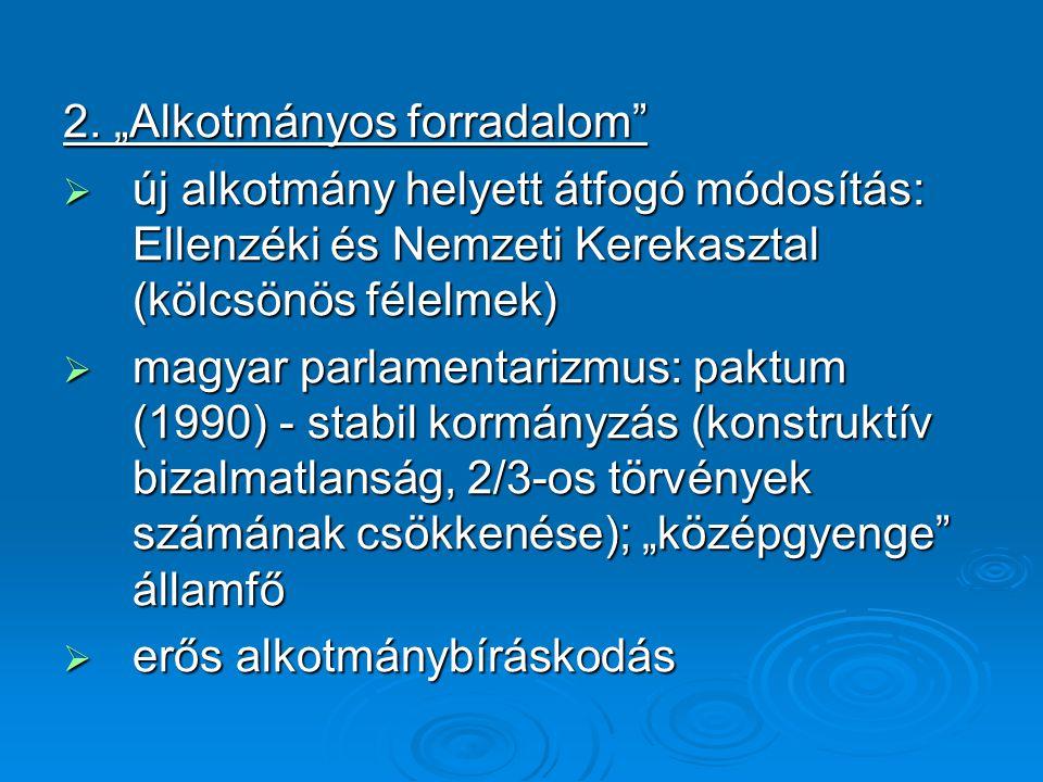 """2. """"Alkotmányos forradalom""""  új alkotmány helyett átfogó módosítás: Ellenzéki és Nemzeti Kerekasztal (kölcsönös félelmek)  magyar parlamentarizmus:"""