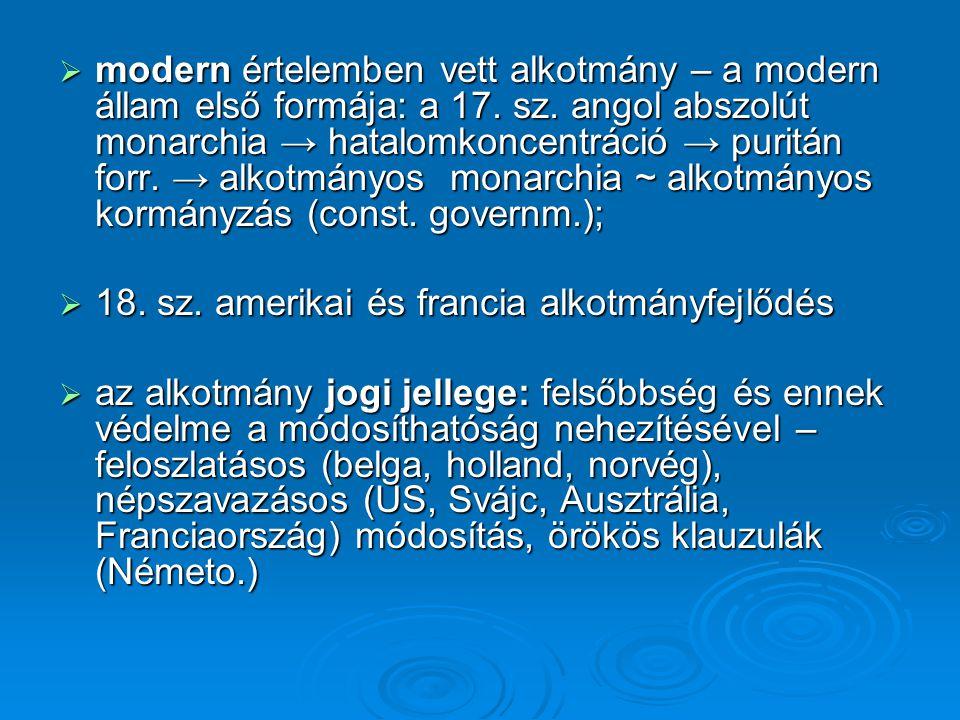  modern értelemben vett alkotmány – a modern állam első formája: a 17.