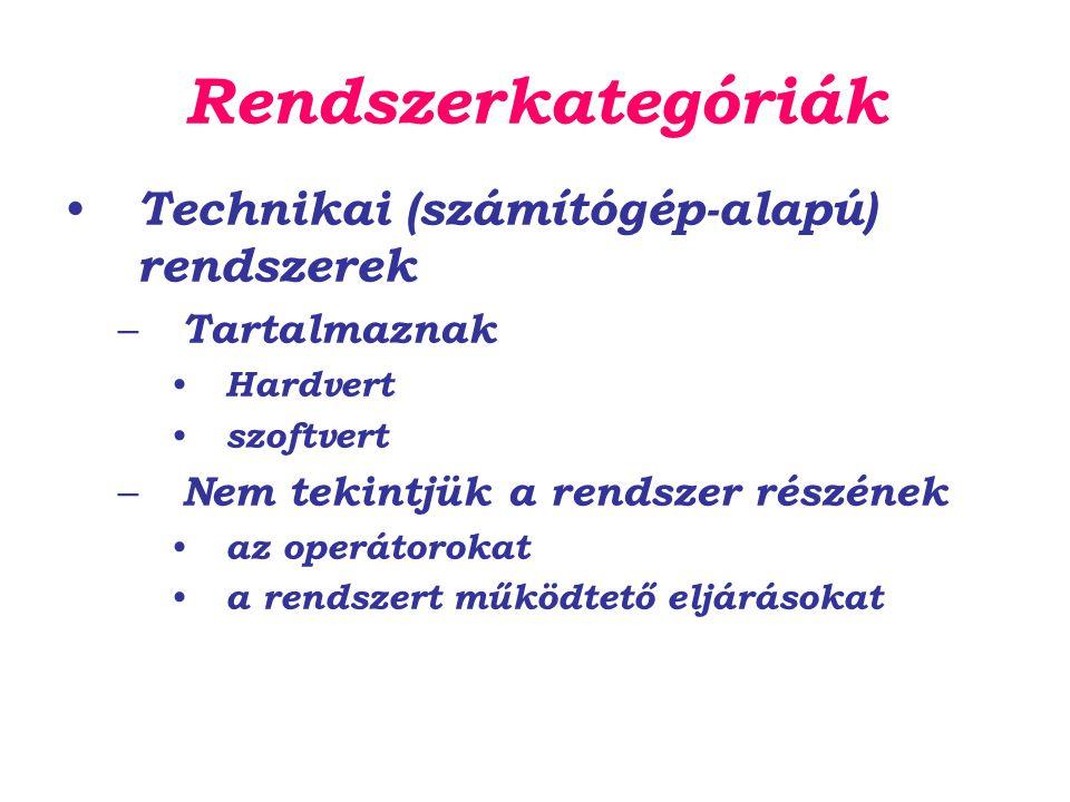 Rendszerkategóriák Technikai (számítógép-alapú) rendszerek – Tartalmaznak Hardvert szoftvert – Nem tekintjük a rendszer részének az operátorokat a rendszert működtető eljárásokat