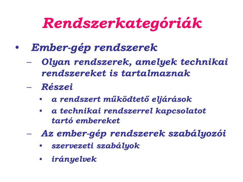 Rendszerkategóriák Ember-gép rendszerek – Olyan rendszerek, amelyek technikai rendszereket is tartalmaznak – Részei a rendszert működtető eljárások a technikai rendszerrel kapcsolatot tartó embereket – Az ember-gép rendszerek szabályozói szervezeti szabályok irányelvek