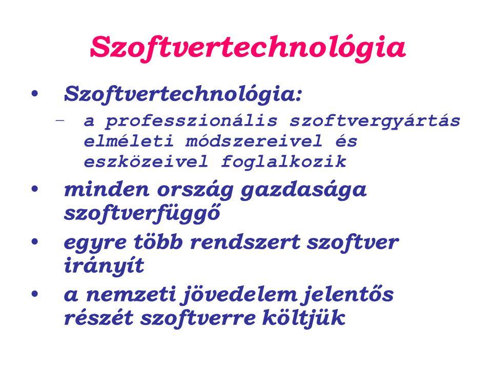 Szoftvertechnológia Szoftvertechnológia: –a professzionális szoftvergyártás elméleti módszereivel és eszközeivel foglalkozik minden ország gazdasága s