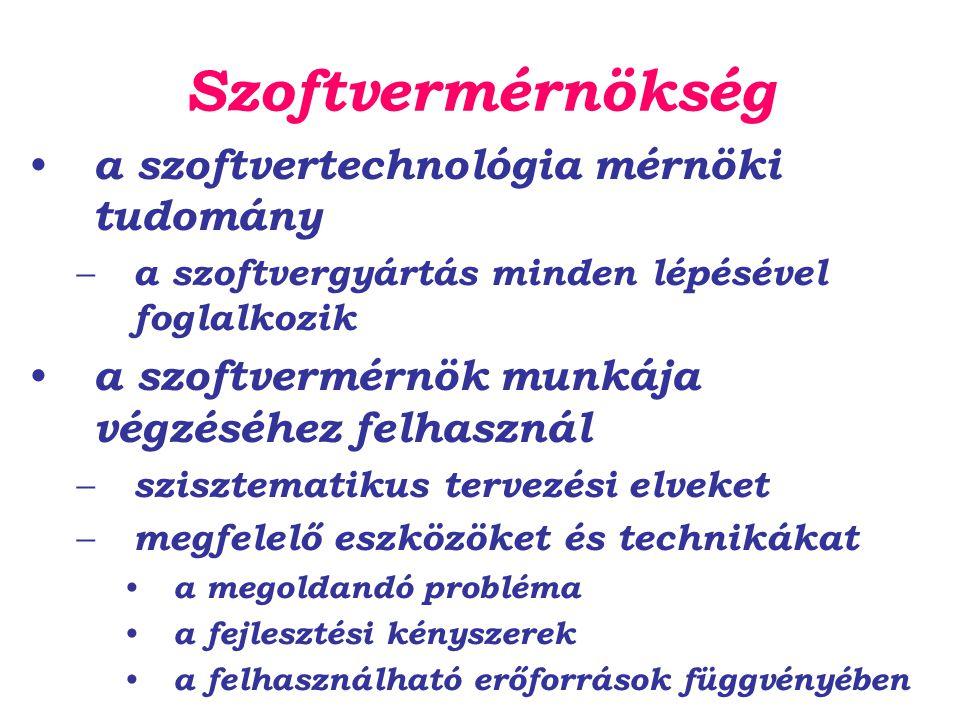 Szoftvermérnökség a szoftvertechnológia mérnöki tudomány – a szoftvergyártás minden lépésével foglalkozik a szoftvermérnök munkája végzéséhez felhaszn