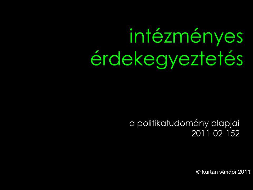 1 intézményes érdekegyeztetés © kurtán sándor 2011 a politikatudomány alapjai 2011-02-152