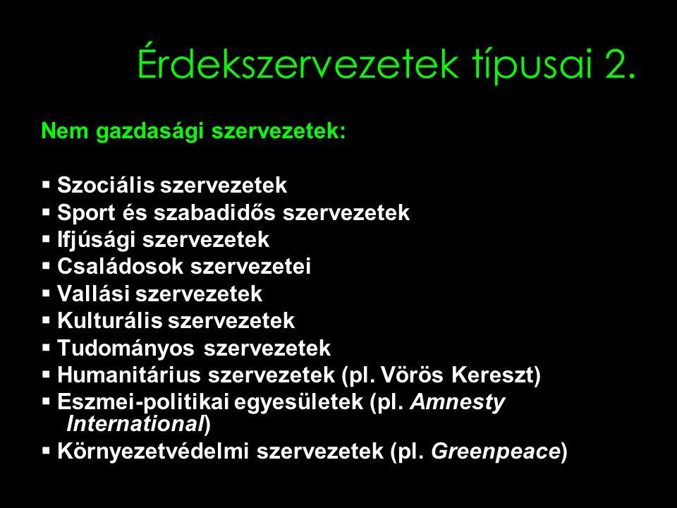 16 Érdekszervezetek típusai 2.