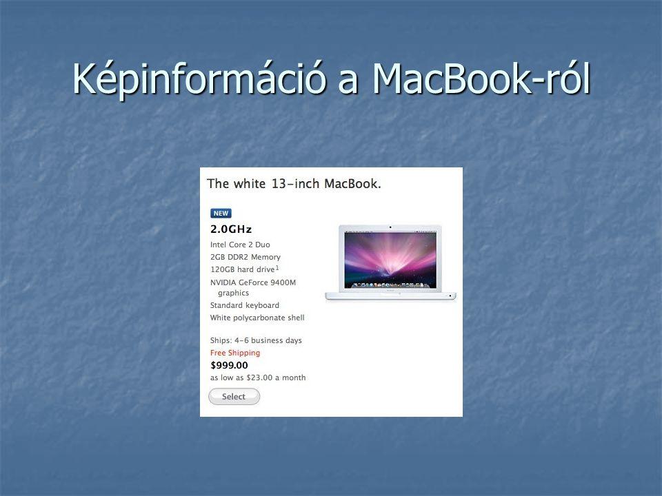 Képinformáció a MacBook-ról