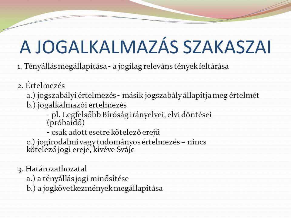 A JOGALKALMAZÁS SZAKASZAI 1. Tényállás megállapítása - a jogilag releváns tények feltárása 2. Értelmezés a.) jogszabályi értelmezés - másik jogszabály