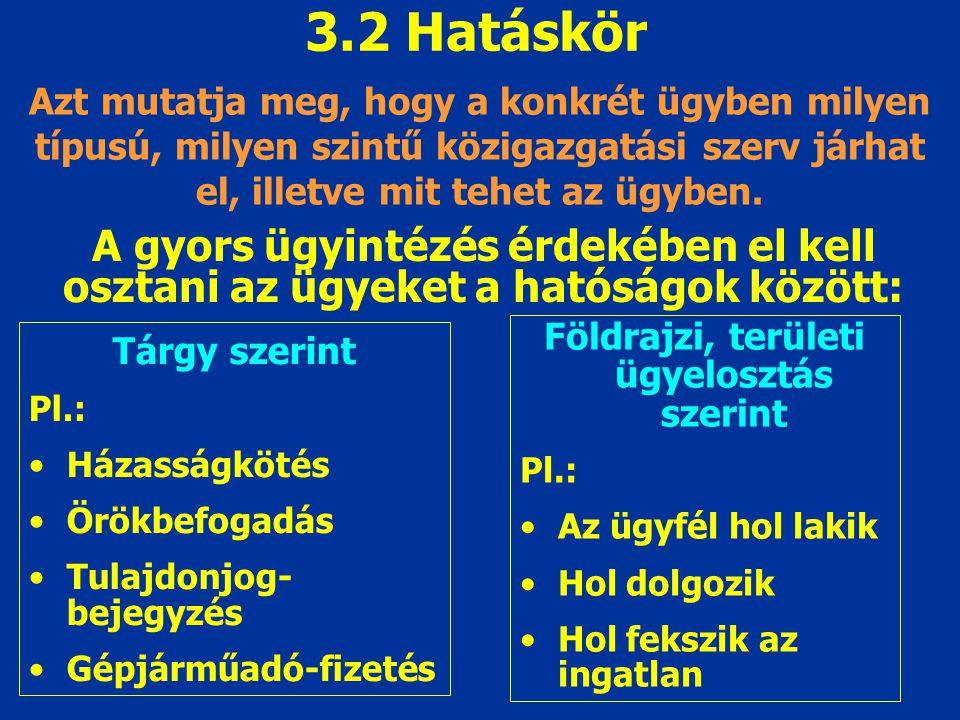 3.2 Hatáskör Azt mutatja meg, hogy a konkrét ügyben milyen típusú, milyen szintű közigazgatási szerv járhat el, illetve mit tehet az ügyben.