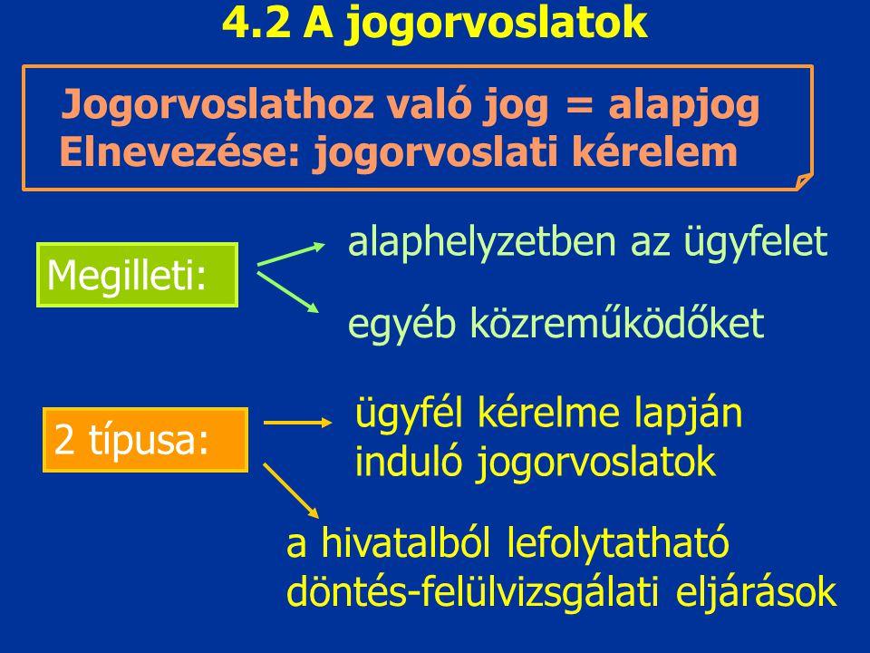 4.2 A jogorvoslatok Jogorvoslathoz való jog = alapjog Megilleti: alaphelyzetben az ügyfelet egyéb közreműködőket Elnevezése: jogorvoslati kérelem 2 tí