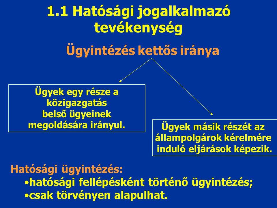 1.1 Hatósági jogalkalmazó tevékenység Ügyintézés kettős iránya Ügyek egy része a közigazgatás belső ügyeinek megoldására irányul. Ügyek másik részét a