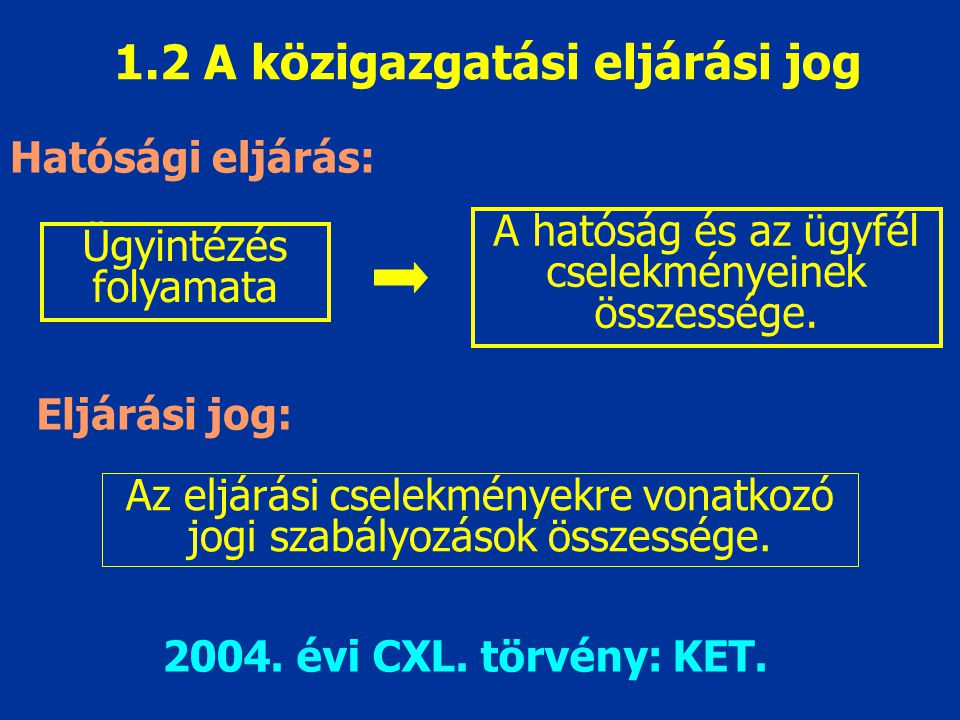 1.2 A közigazgatási eljárási jog Hatósági eljárás: Eljárási jog: Ügyintézés folyamata A hatóság és az ügyfél cselekményeinek összessége. Az eljárási c