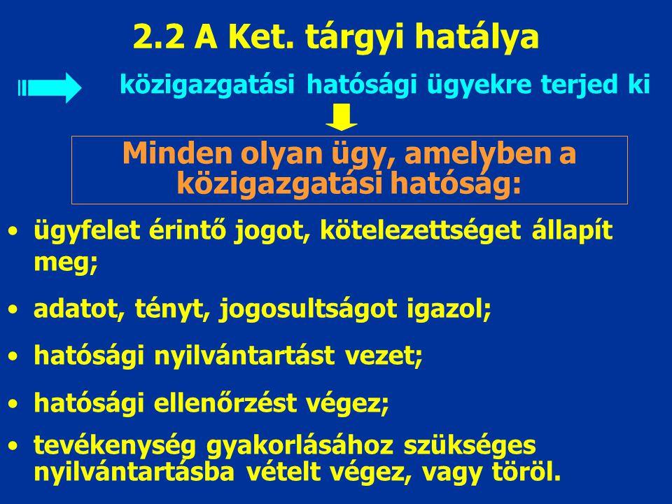 2.2 A Ket. tárgyi hatálya közigazgatási hatósági ügyekre terjed ki Minden olyan ügy, amelyben a közigazgatási hatóság: ügyfelet érintő jogot, köteleze