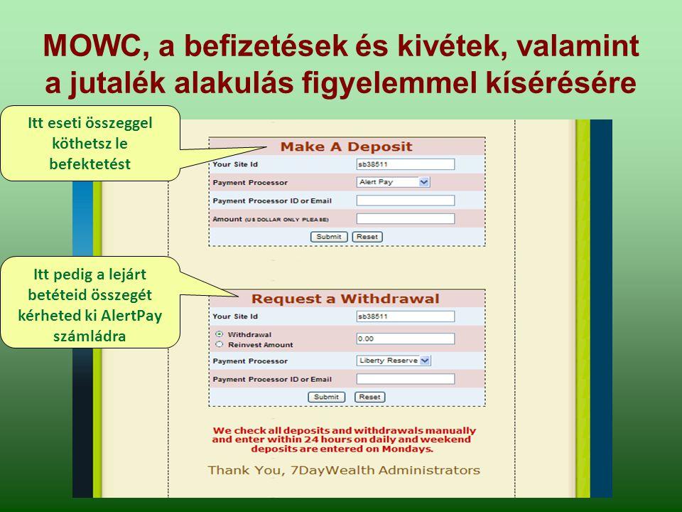 MOWC, a befizetések és kivétek, valamint a jutalék alakulás figyelemmel kísérésére Itt eseti összeggel köthetsz le befektetést Itt pedig a lejárt betéteid összegét kérheted ki AlertPay számládra