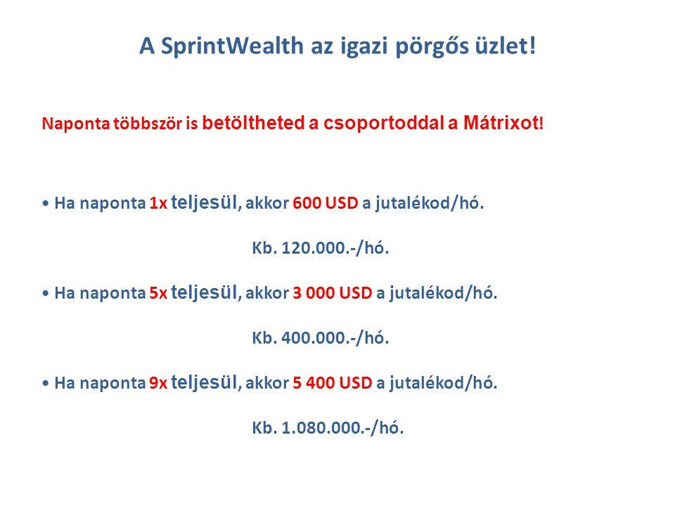 A SprintWealth az igazi pörgős üzlet. Ha naponta 1x teljesül, akkor 600 USD a jutalékod/hó.