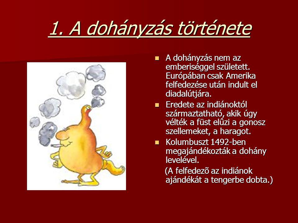 1. A dohányzás története A dohányzás nem az emberiséggel született. Európában csak Amerika felfedezése után indult el diadalútjára. A dohányzás nem az