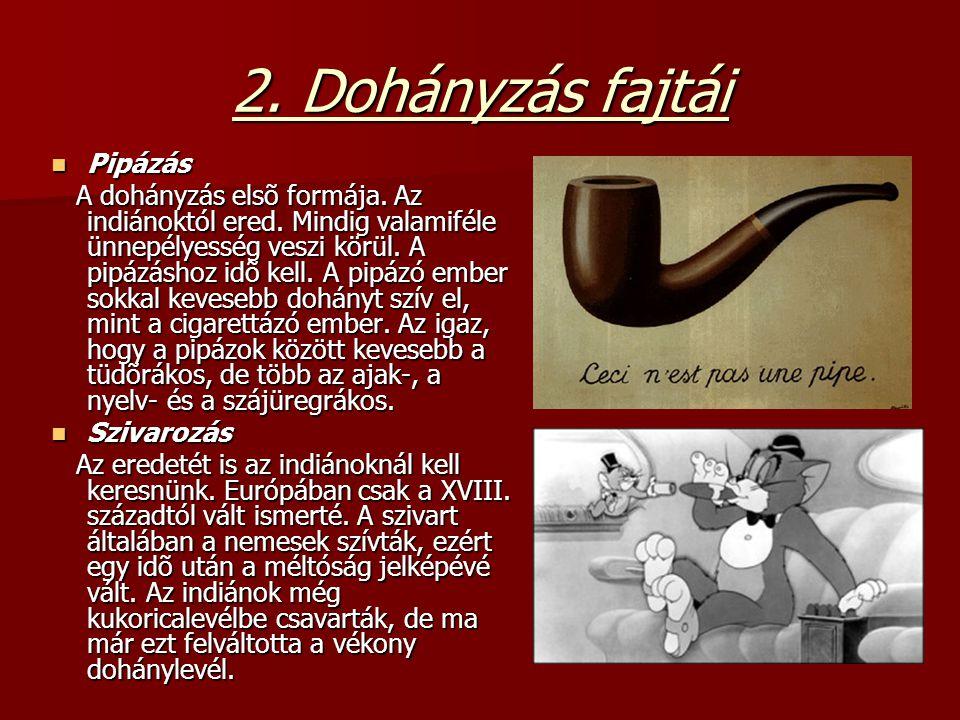 2. Dohányzás fajtái Pipázás Pipázás A dohányzás elsõ formája. Az indiánoktól ered. Mindig valamiféle ünnepélyesség veszi körül. A pipázáshoz idõ kell.