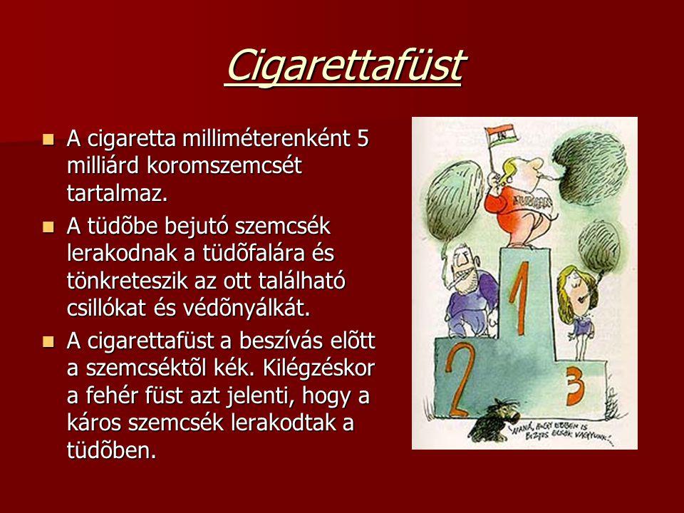 Cigarettafüst A cigaretta milliméterenként 5 milliárd koromszemcsét tartalmaz. A cigaretta milliméterenként 5 milliárd koromszemcsét tartalmaz. A tüdõ