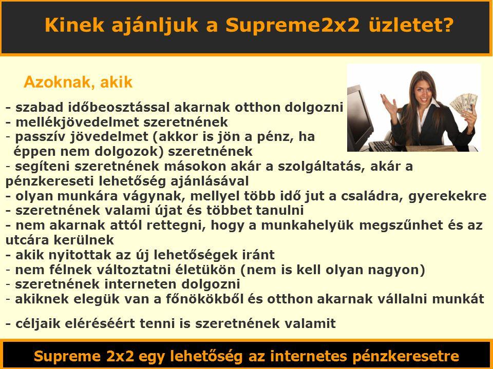 Supreme 2x2 egy lehetőség az internetes pénzkeresetre Kinek ajánljuk a Supreme2x2 üzletet.