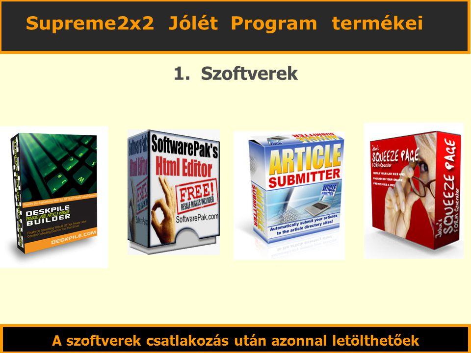 1. Szoftverek A szoftverek csatlakozás után azonnal letölthetőek Supreme2x2 Jólét Program termékei