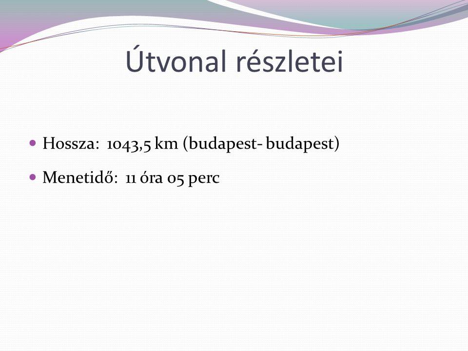 Útvonal részletei Hossza: 1043,5 km (budapest- budapest) Menetidő: 11 óra 05 perc