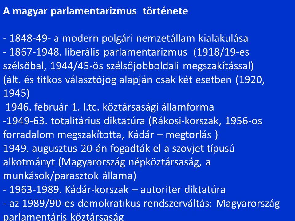A Magyar Köztársaság államszervezete Törvényhozó szerv Országgyűlés Államfő köztársasági elnök Végrehajtás kormány Jogalkotás kontrollja Alkotmánybíróság népszavazás Igazságszolg áltatás Bíróságok Állami közigazgatás Helyi Közigazgatás Önkormányzatok
