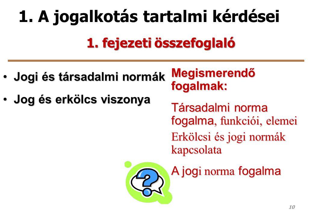 1. A jogalkotás tartalmi kérdései Jogi és társadalmi normákJogi és társadalmi normák Jog és erkölcs viszonyaJog és erkölcs viszonya Megismerendő fogal