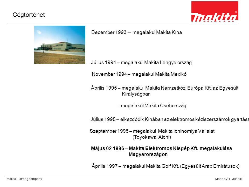 Cégtörténet Makita – strong companyMade by: L. Juhasz December 1993 – megalakul Makita Kína Július 1994 – megalakul Makita Lengyelország November 1994