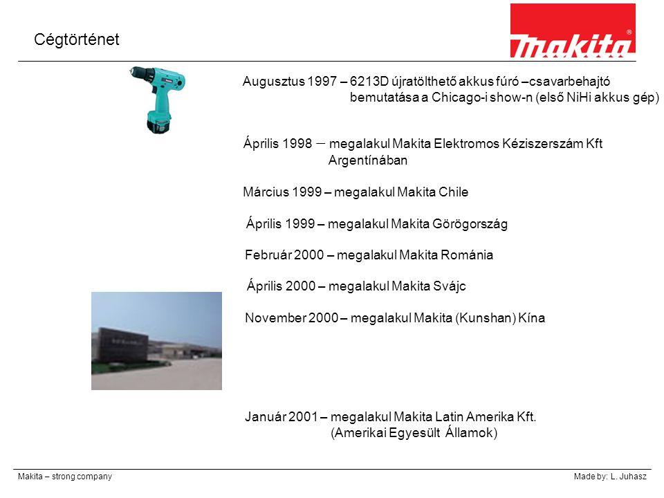 Cégtörténet Makita – strong companyMade by: L. Juhasz Április 1998 – megalakul Makita Elektromos Kéziszerszám Kft Argentínában Augusztus 1997 – 6213D