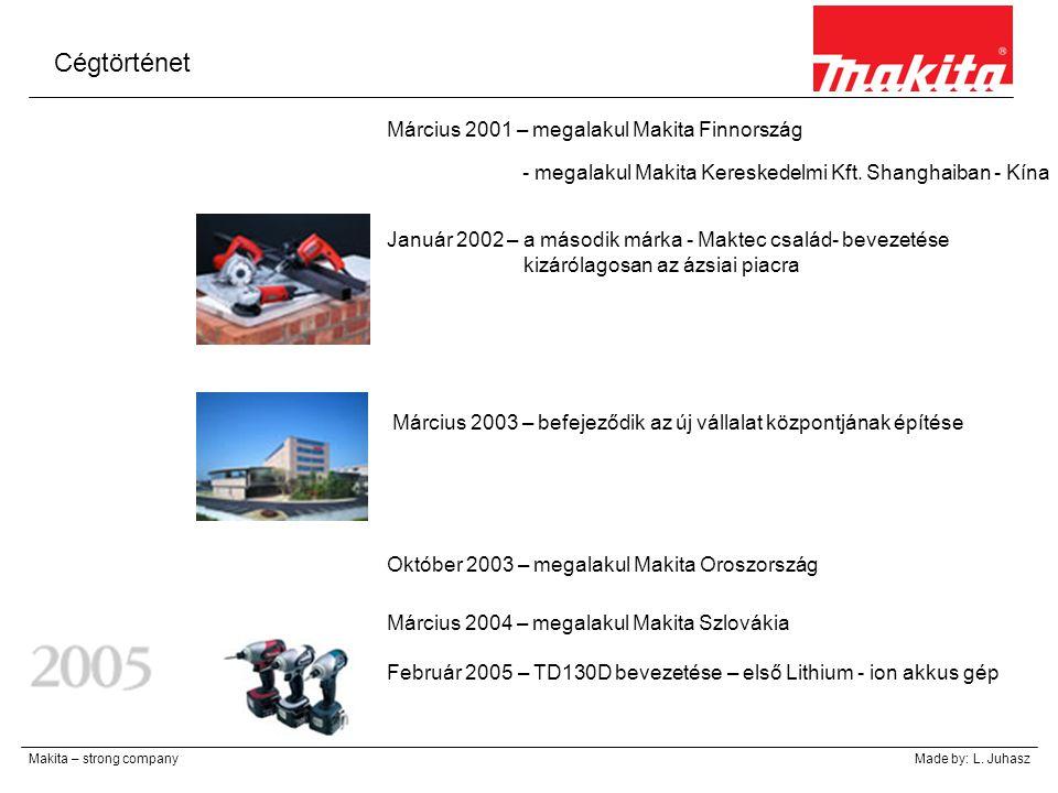 Cégtörténet Makita – strong companyMade by: L. Juhasz Március 2001 – megalakul Makita Finnország - megalakul Makita Kereskedelmi Kft. Shanghaiban - Kí