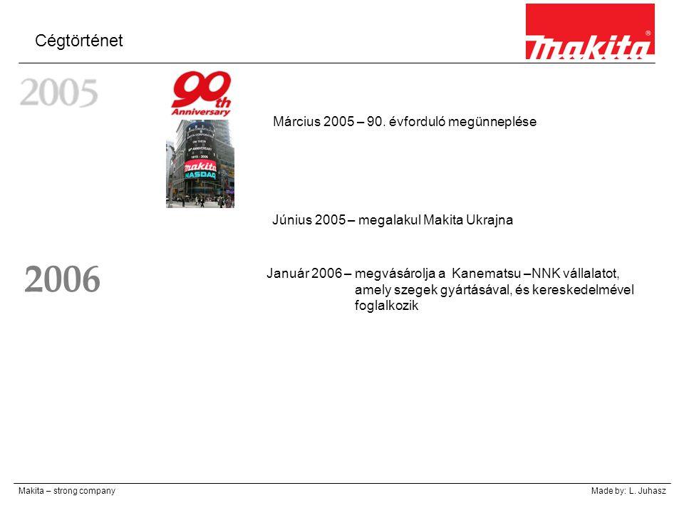 Cégtörténet Makita – strong companyMade by: L. Juhasz Március 2005 – 90. évforduló megünneplése Június 2005 – megalakul Makita Ukrajna Január 2006 – m