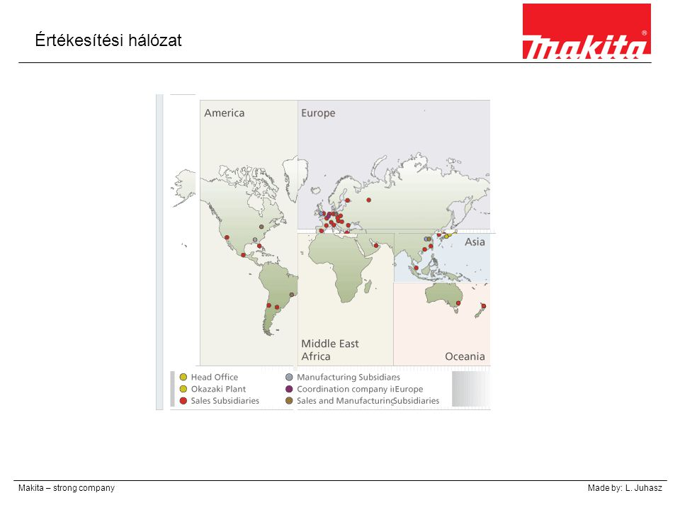 Értékesítési hálózat Makita – strong companyMade by: L. Juhasz