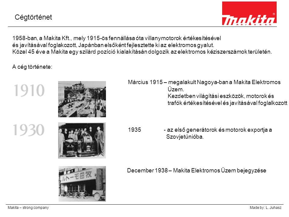 Cégtörténet Makita – strong companyMade by: L. Juhasz 1958-ban, a Makita Kft., mely 1915-ös fennállása óta villanymotorok értékesítésével és javításáv