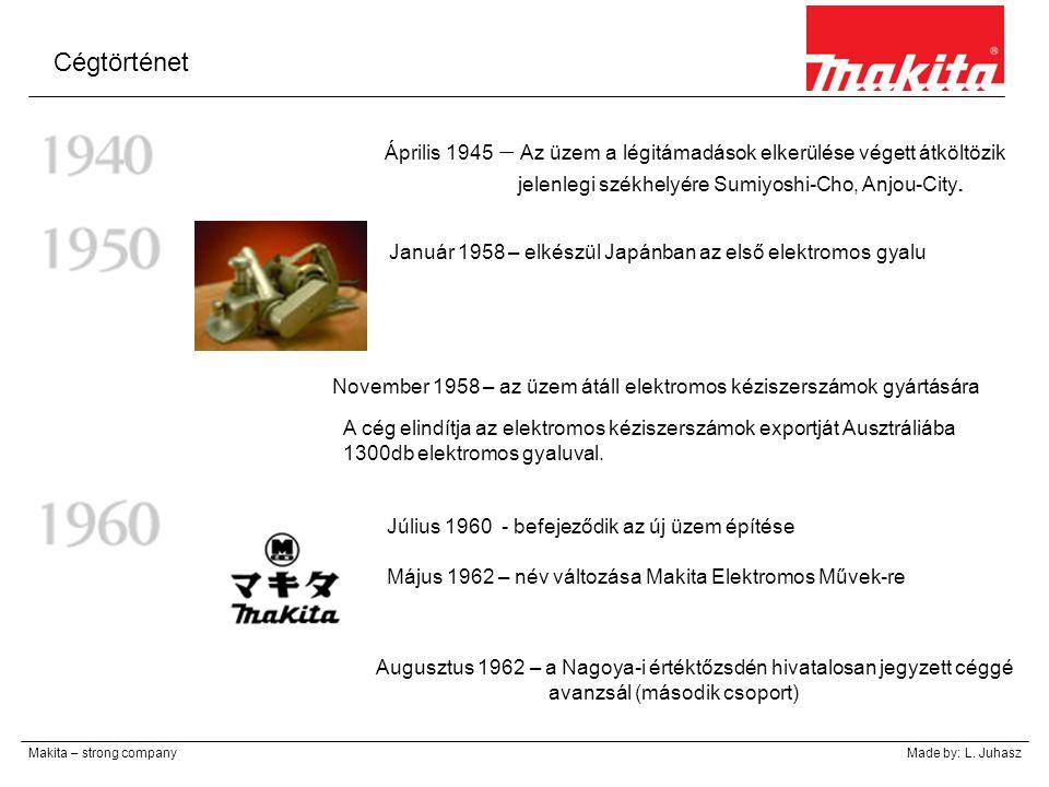 Cégtörténet Makita – strong companyMade by: L. Juhasz Április 1945 – Az üzem a légitámadások elkerülése végett átköltözik jelenlegi székhelyére Sumiyo