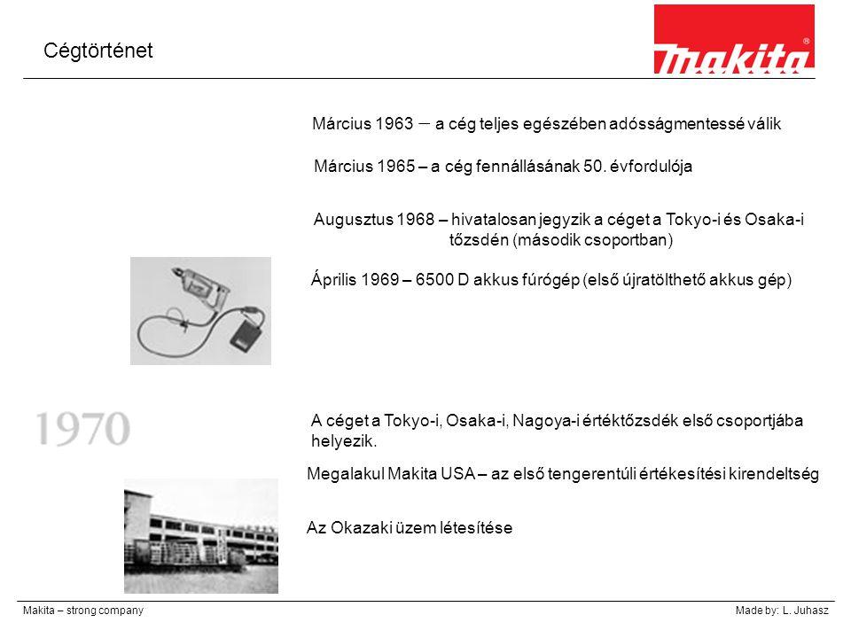 Cégtörténet Makita – strong companyMade by: L. Juhasz Március 1963 – a cég teljes egészében adósságmentessé válik Március 1965 – a cég fennállásának 5