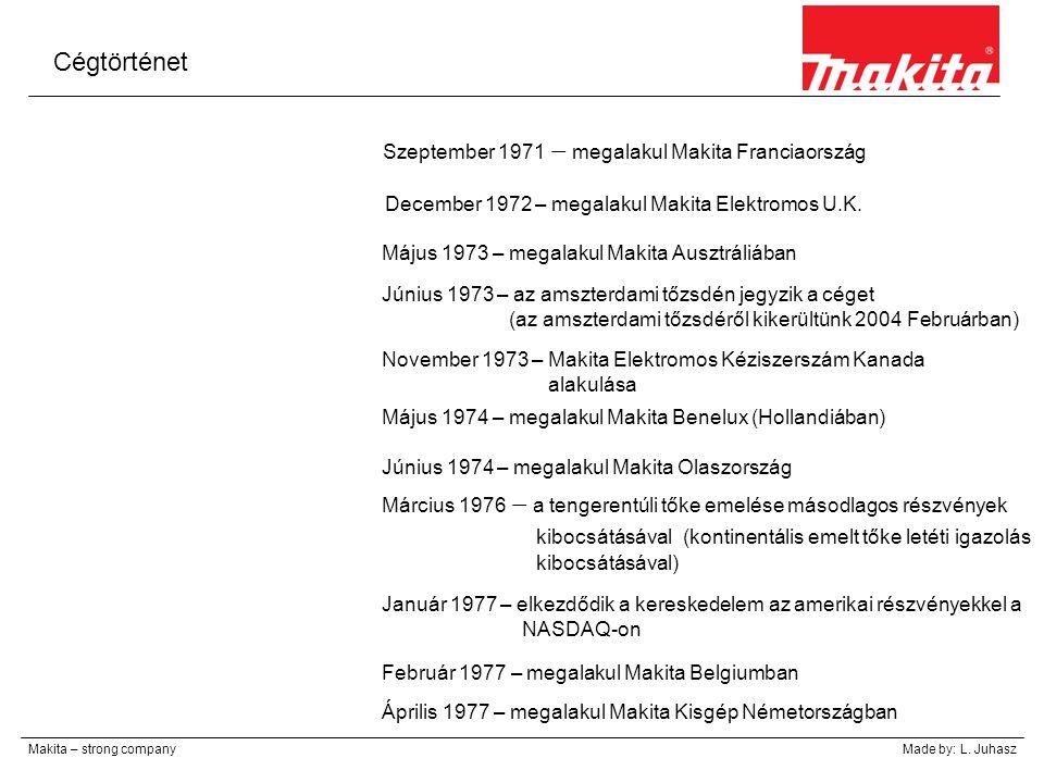 Cégtörténet Makita – strong companyMade by: L. Juhasz Szeptember 1971 – megalakul Makita Franciaország December 1972 – megalakul Makita Elektromos U.K