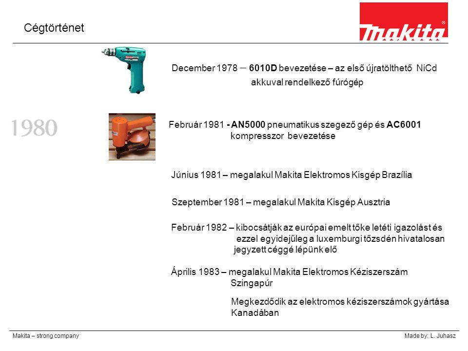 Cégtörténet Makita – strong companyMade by: L. Juhasz December 1978 – 6010D bevezetése – az első újratölthető NiCd akkuval rendelkező fúrógép Február