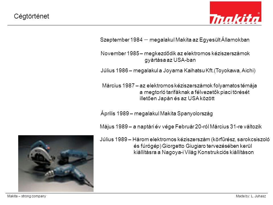 Cégtörténet Makita – strong companyMade by: L. Juhasz Szeptember 1984 – megalakul Makita az Egyesült Államokban November 1985 – megkezdődik az elektro