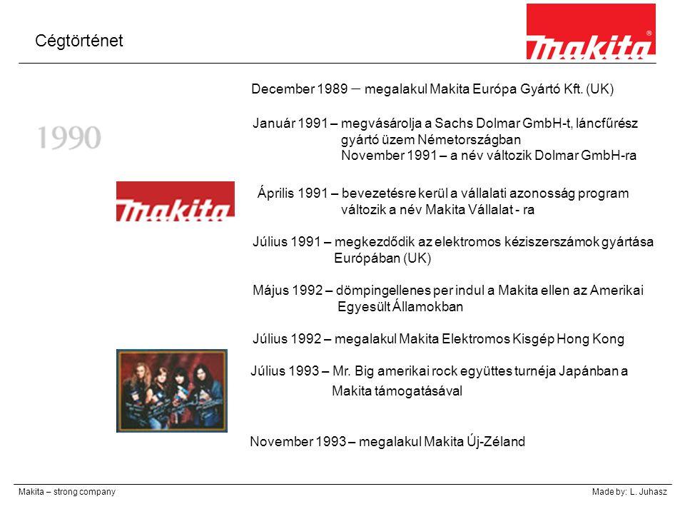 Cégtörténet Makita – strong companyMade by: L. Juhasz December 1989 – megalakul Makita Európa Gyártó Kft. (UK) Január 1991 – megvásárolja a Sachs Dolm