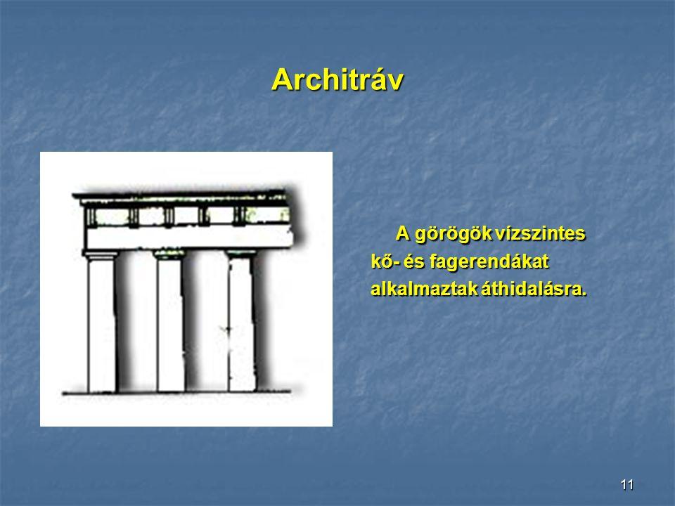 10Egyiptom Az egyiptomiak már kőgerendákat is használtak, ezekkel azonban nem lehetett 3-4 méternél nagyobb távolságot áthidalni. Nagyobb belső tereke