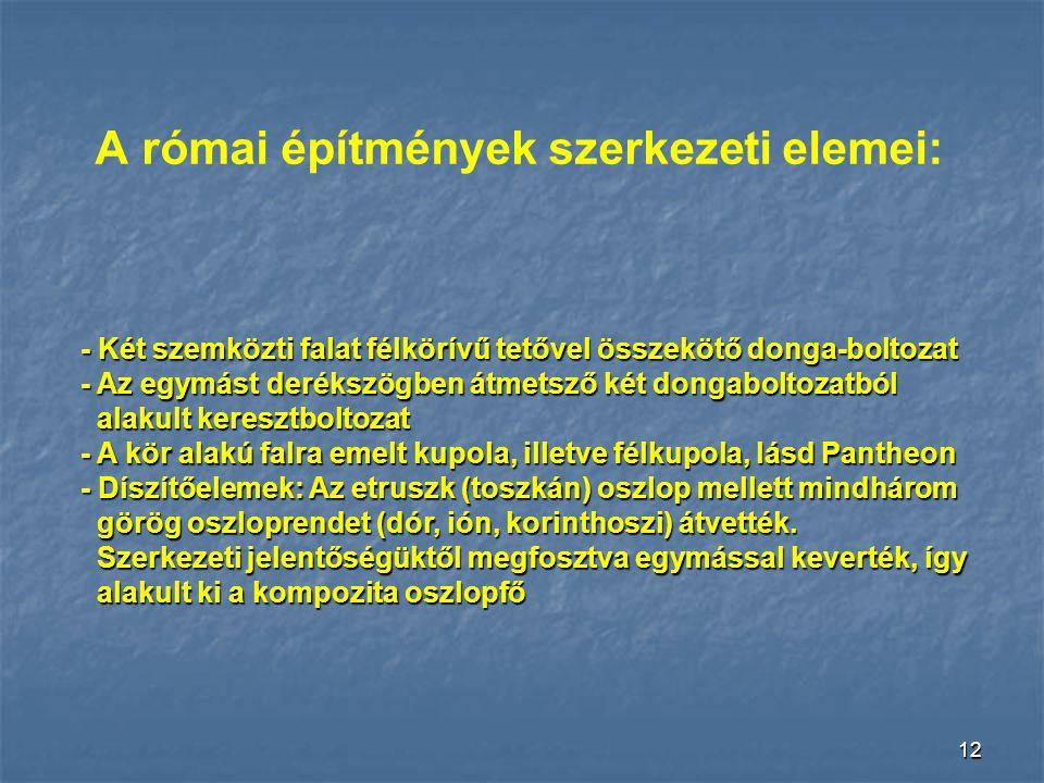 11 Architráv A görögök vízszintes kő- és fagerendákat alkalmaztak áthidalásra.