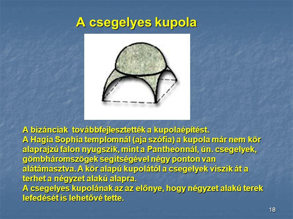 17 Kupola A római építészet legkiemel- kedőbb teljesítménye a kupola. A félgömb alakú boltozat megépí- tése bonyolult feladat, de ezzel lehetővé vált