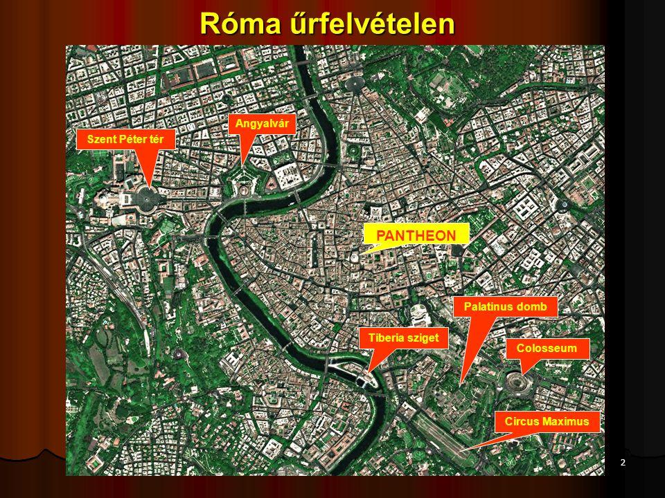 12 A római építmények szerkezeti elemei: - Két szemközti falat félkörívű tetővel összekötő donga-boltozat - Az egymást derékszögben átmetsző két dongaboltozatból alakult keresztboltozat alakult keresztboltozat - A kör alakú falra emelt kupola, illetve félkupola, lásd Pantheon - Díszítőelemek: Az etruszk (toszkán) oszlop mellett mindhárom görög oszloprendet (dór, ión, korinthoszi) átvették.