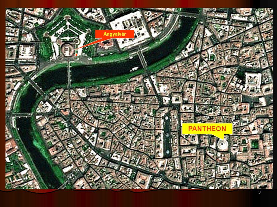 2 Róma űrfelvételen Tiberia sziget Colosseum Palatinus domb Circus Maximus Angyalvár Szent Péter tér PANTHEON