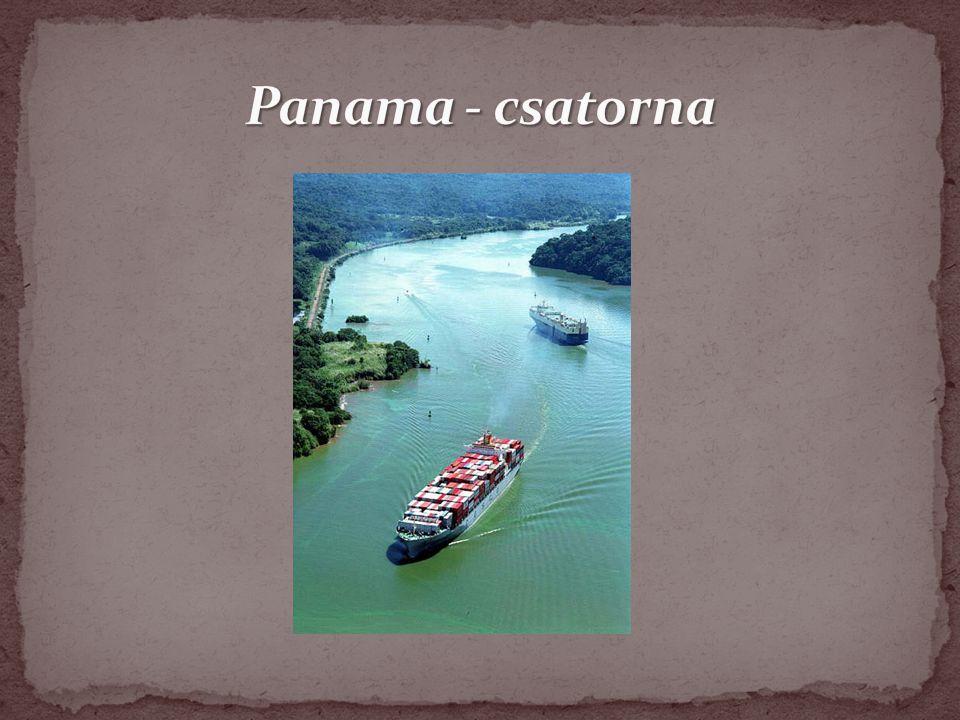 Panamában található mesterséges csatorna, amely a Csendes- és Atlanti-óceánt köti össze Hossza 77 km Szélessége 28m, mélysége 8,5m Csatornának köszönhetően a hajózási utak jelentősen lerövidülnek (New York – San Francisco régen 22.500km, most 9.500km) 17 mesterséges tó, számtalan csatorna (természetes, mesterséges), két darab zsiliprendszer 1999-ben lett Panama része Jelenleg 32-34 hajó halad át naponta http://indavideo.hu/video/A_Panama_csatorna_egy_napja?action=vid eo_site&video_title=A_Panama_csatorna_egy_napja%3Ftoken%3De81 0873da00235ac175ec2818d8a0811