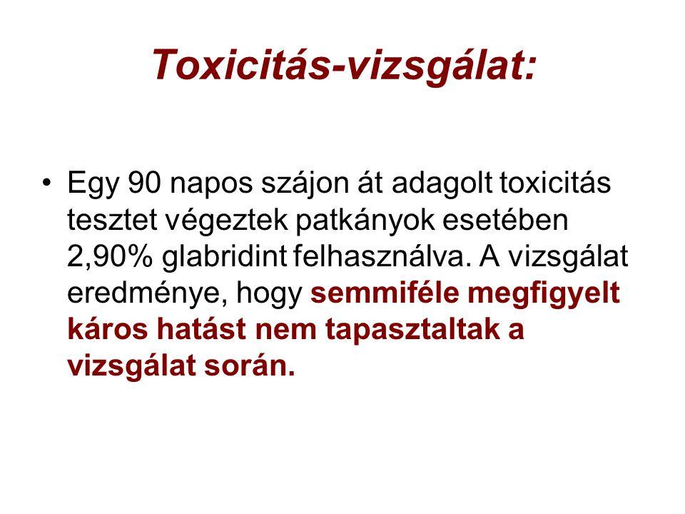 Toxicitás-vizsgálat: Egy 90 napos szájon át adagolt toxicitás tesztet végeztek patkányok esetében 2,90% glabridint felhasználva.