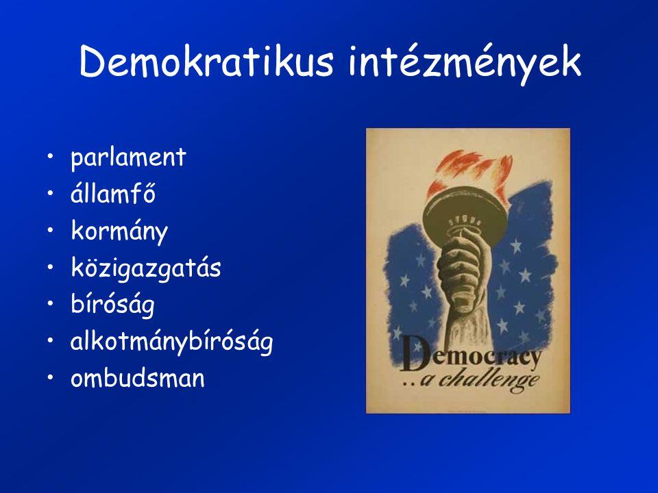 Demokratikus intézmények parlament államfő kormány közigazgatás bíróság alkotmánybíróság ombudsman