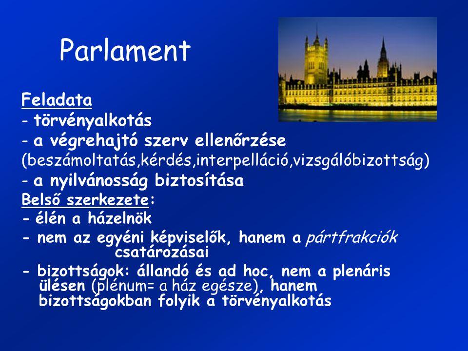 Parlament Feladata - törvényalkotás - a végrehajtó szerv ellenőrzése (beszámoltatás,kérdés,interpelláció,vizsgálóbizottság) - a nyilvánosság biztosítása Belső szerkezete: - élén a házelnök - nem az egyéni képviselők, hanem a pártfrakciók csatározásai - bizottságok: állandó és ad hoc, nem a plenáris ülésen (plénum= a ház egésze), hanem bizottságokban folyik a törvényalkotás