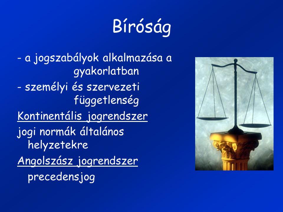 Bíróság - a jogszabályok alkalmazása a gyakorlatban - személyi és szervezeti függetlenség Kontinentális jogrendszer jogi normák általános helyzetekre Angolszász jogrendszer precedensjog