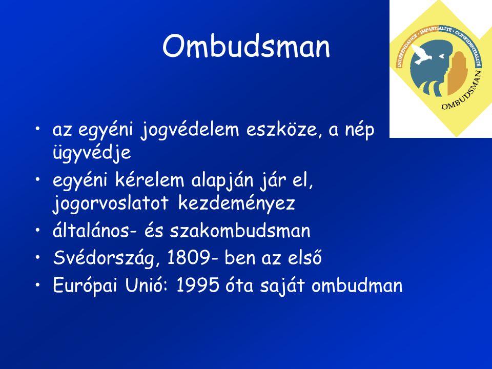 Ombudsman az egyéni jogvédelem eszköze, a nép ügyvédje egyéni kérelem alapján jár el, jogorvoslatot kezdeményez általános- és szakombudsman Svédország, 1809- ben az első Európai Unió: 1995 óta saját ombudman